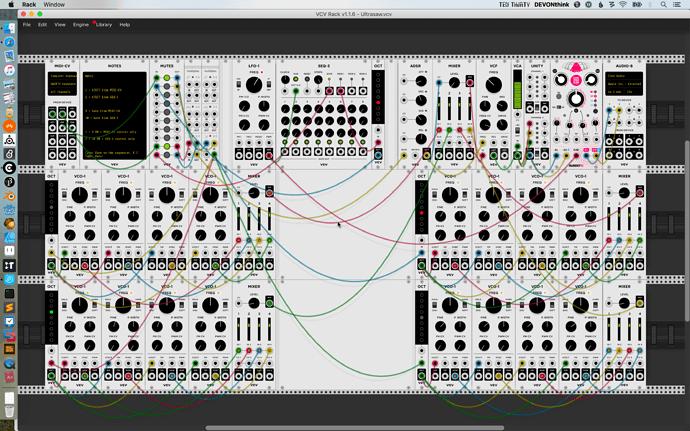 Screen shot of VCV Rack patch Ultrasaw
