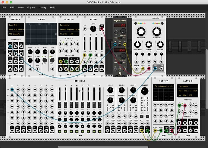 VCV Rack patch showing USB Audio and MIDI from OP-1