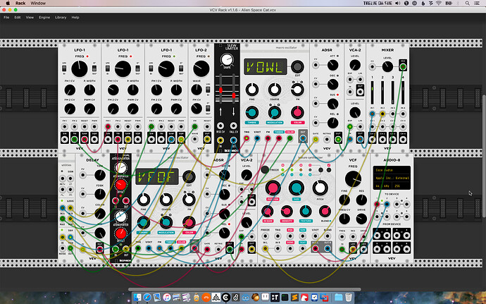 Screen shot of VCV Rack patch Alien Space Cat