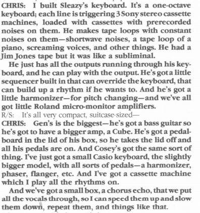 Throbbing Gristle's Tape noise keyboard